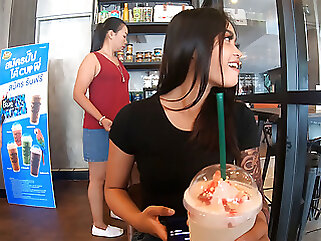 Starbucks coffee date with gorgeous Asian teen GF with a big ass asian amateur